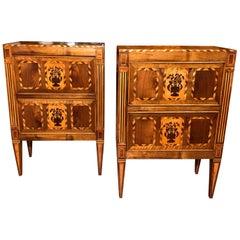 19th Century Louis XVI Walnut Inlaid Italian Nightstands Bedside Tables, 1820s