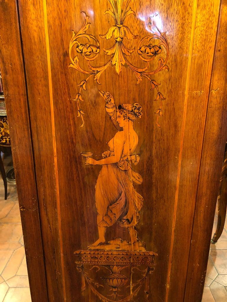 19th Century Louis XVI Walnut Inlaid Italian Secretaire, 1800s For Sale 7