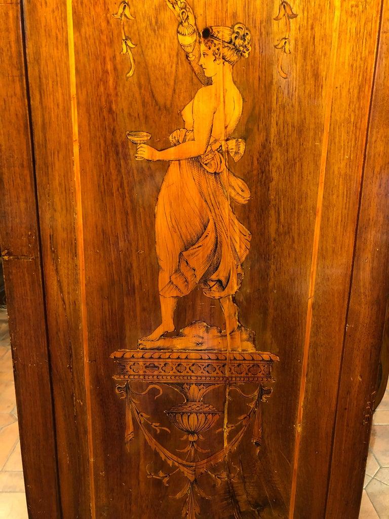 19th Century Louis XVI Walnut Inlaid Italian Secretaire, 1800s For Sale 8