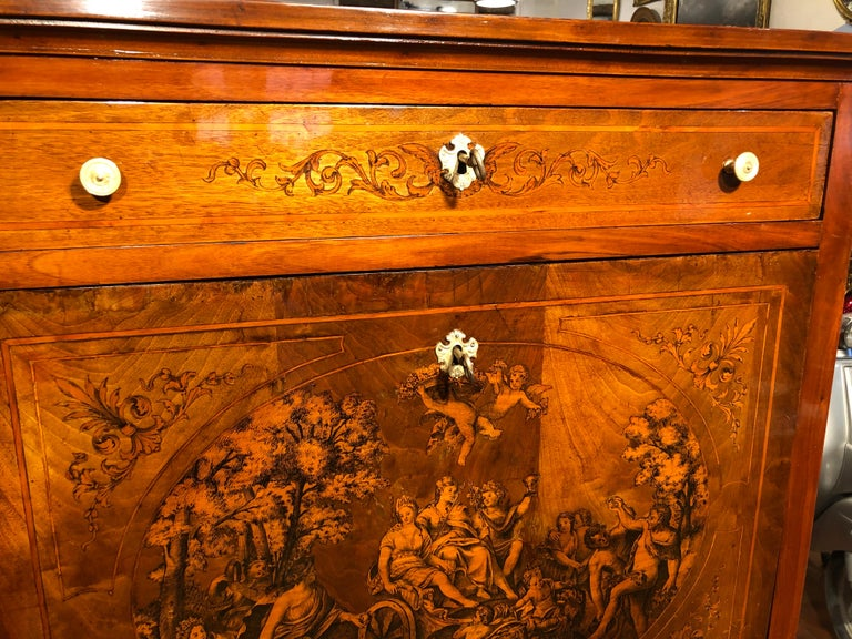 19th Century Louis XVI Walnut Inlaid Italian Secretaire, 1800s For Sale 12