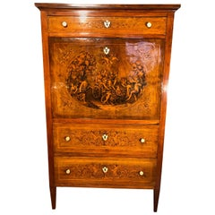 19th Century Louis XVI Walnut Inlaid Italian Secretaire, 1800s