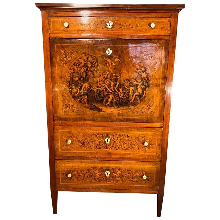 19th Century Louis XVI Walnut Inlaid Italian Secretaire, 1800s For Sale