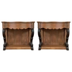 19th Century Low Pair of Console Tables or Nightstands in Mahogany