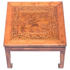 Low Square Table with Burl and Parquetry Inlay, c. 1900