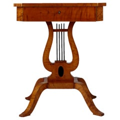 Lyre Side Table, Birchwood Veneer, Second Half of the 19th Century, 1-Drawer