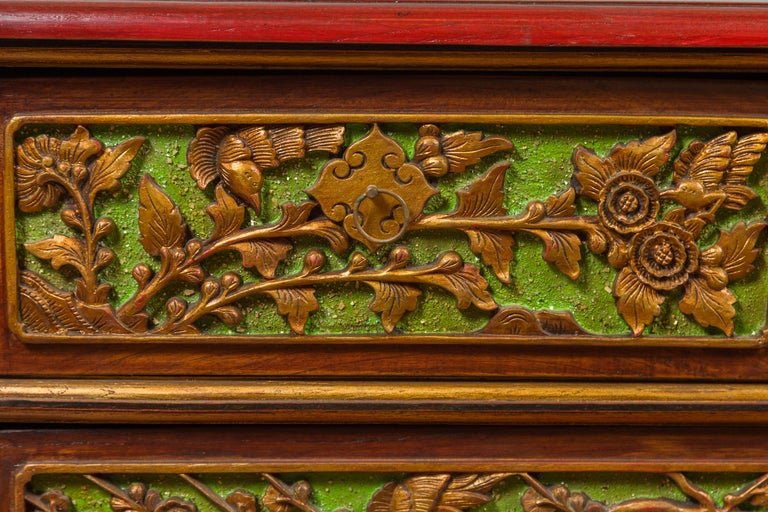 19th Century Madurese Polychrome Three-Drawer Dresser with Carved Floral Motifs For Sale 4