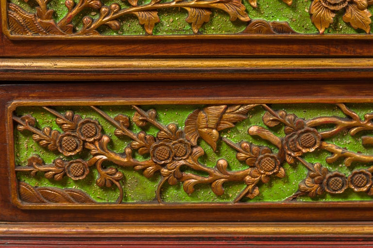 19th Century Madurese Polychrome Three-Drawer Dresser with Carved Floral Motifs For Sale 6