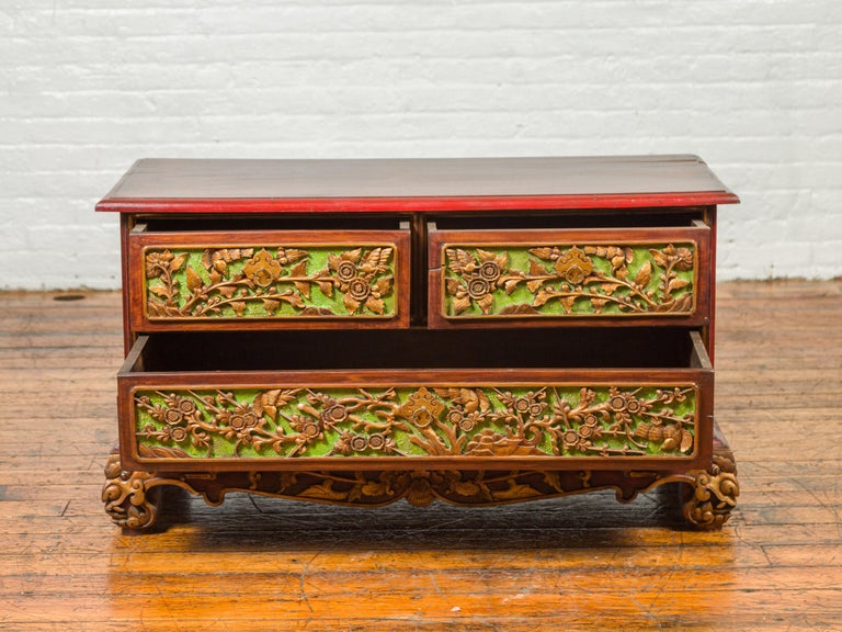19th Century Madurese Polychrome Three-Drawer Dresser with Carved Floral Motifs For Sale 7