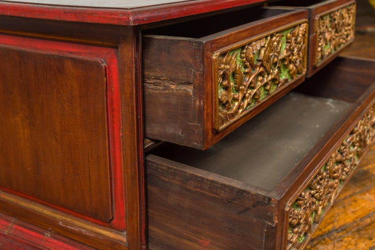 19th Century Madurese Polychrome Three-Drawer Dresser with Carved Floral Motifs For Sale 9