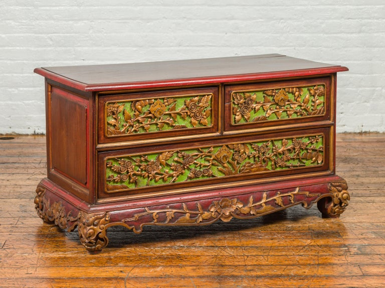 19th Century Madurese Polychrome Three-Drawer Dresser with Carved Floral Motifs For Sale 10