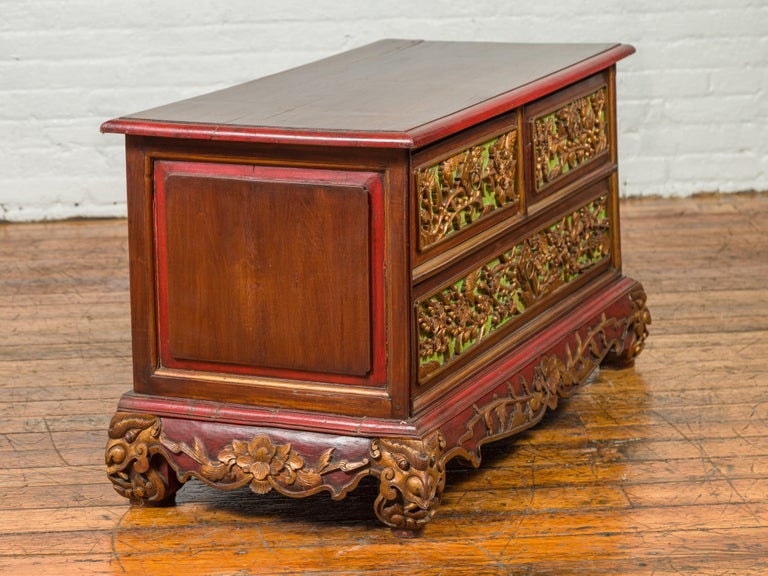 19th Century Madurese Polychrome Three-Drawer Dresser with Carved Floral Motifs For Sale 11