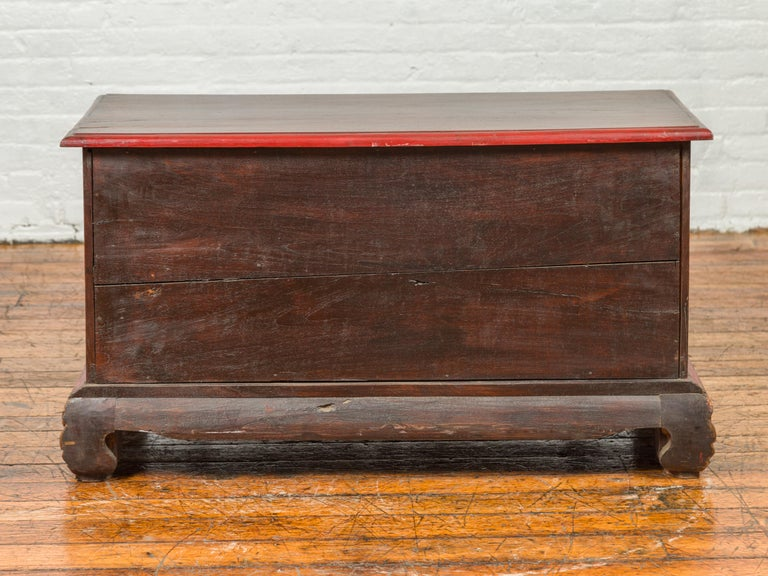 19th Century Madurese Polychrome Three-Drawer Dresser with Carved Floral Motifs For Sale 13