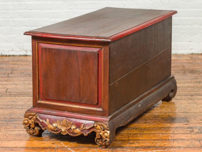 19th Century Madurese Polychrome Three-Drawer Dresser with Carved Floral Motifs For Sale 14