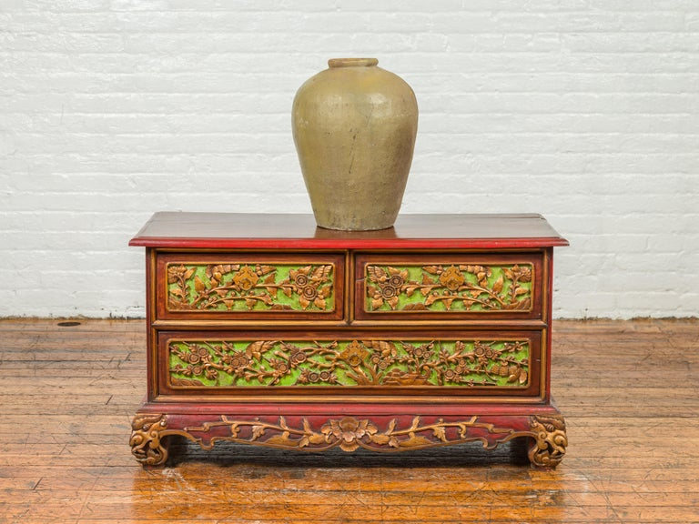 Indonesian 19th Century Madurese Polychrome Three-Drawer Dresser with Carved Floral Motifs For Sale