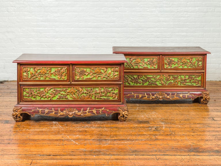 Polychromed 19th Century Madurese Polychrome Three-Drawer Dresser with Carved Floral Motifs For Sale