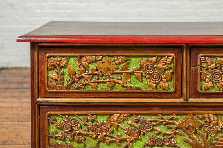19th Century Madurese Polychrome Three-Drawer Dresser with Carved Floral Motifs In Good Condition For Sale In Yonkers, NY