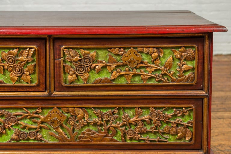 19th Century Madurese Polychrome Three-Drawer Dresser with Carved Floral Motifs For Sale 1