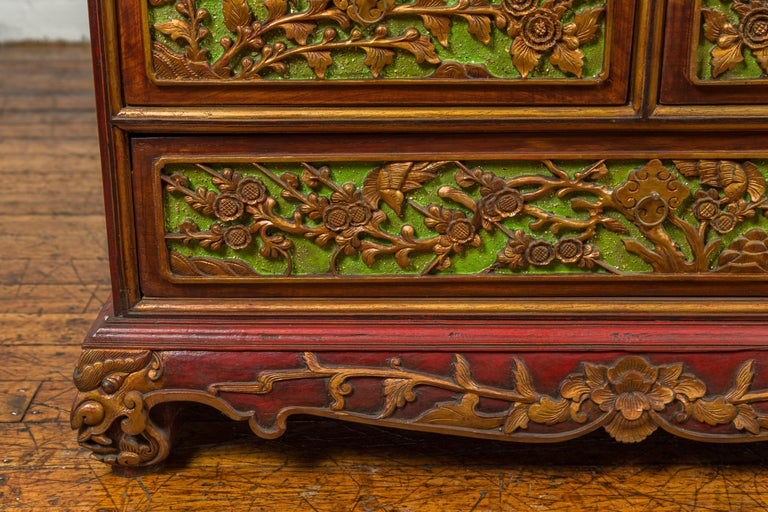19th Century Madurese Polychrome Three-Drawer Dresser with Carved Floral Motifs For Sale 2