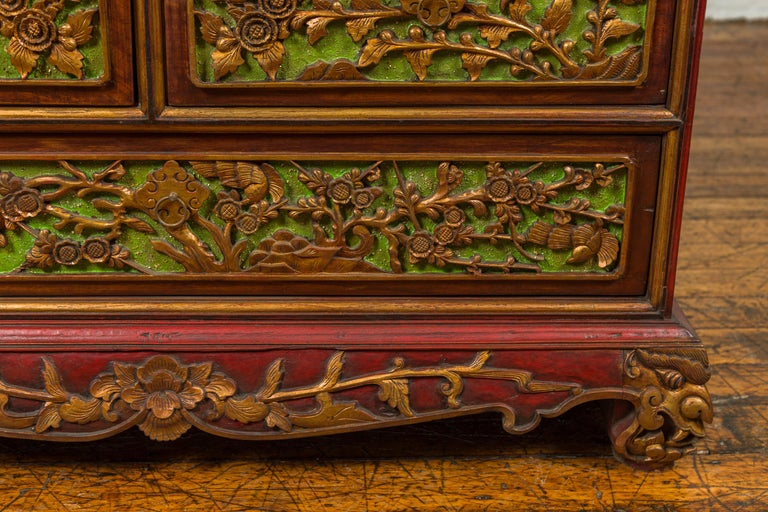 19th Century Madurese Polychrome Three-Drawer Dresser with Carved Floral Motifs For Sale 3