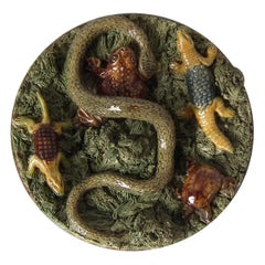 19th Century Mafra Palissy Majolica Snake, Toad & Tortoise Plate