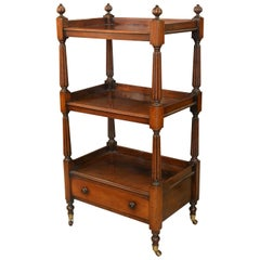 19th Century Mahogany 3-Tier Buffet with Reeded Columns and Drawer, circa 1850