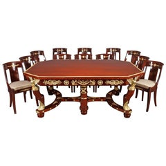 19th Century Mahogany and Gilt Bronze Dining Room Suite in Empire Style