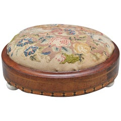 19th Century Mahogany and Inlaid Foot Stool