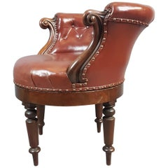 19th Century Mahogany and Leather Swivel Chair