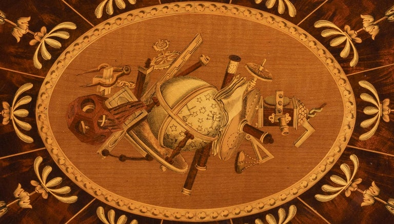 Victorian 19th Century Mahogany and Satinwood Astrological Marquetry Centre Table For Sale