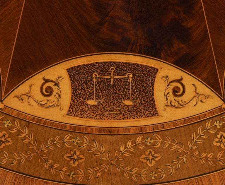 19th Century Mahogany and Satinwood Astrological Marquetry Centre Table For Sale 2