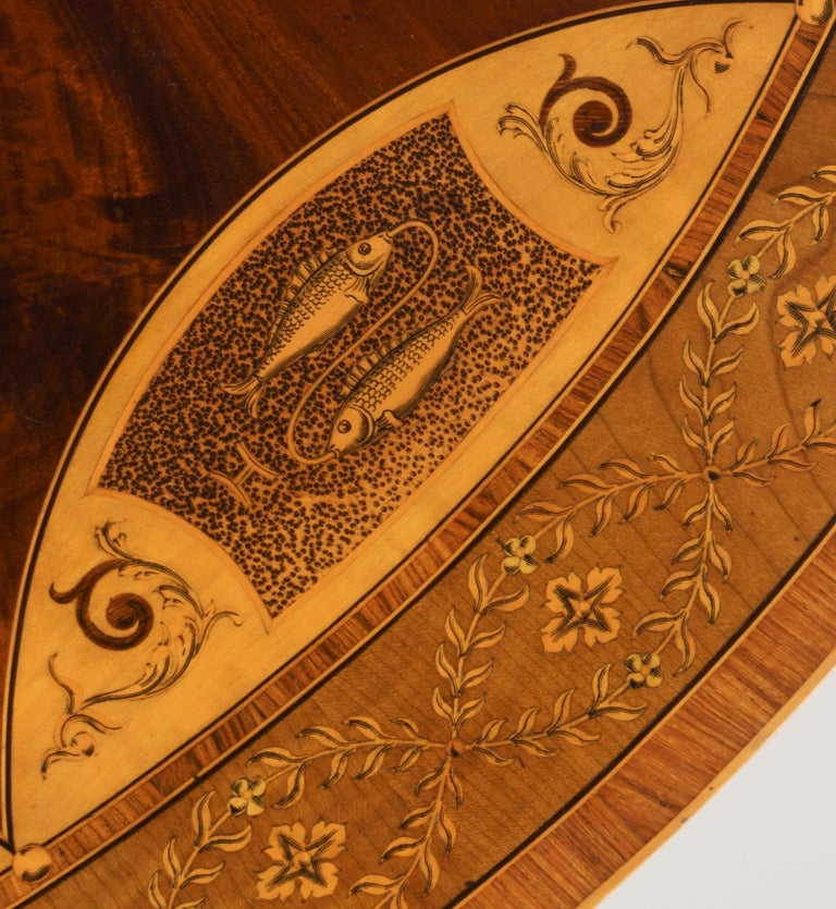19th Century Mahogany and Satinwood Astrological Marquetry Centre Table For Sale 3