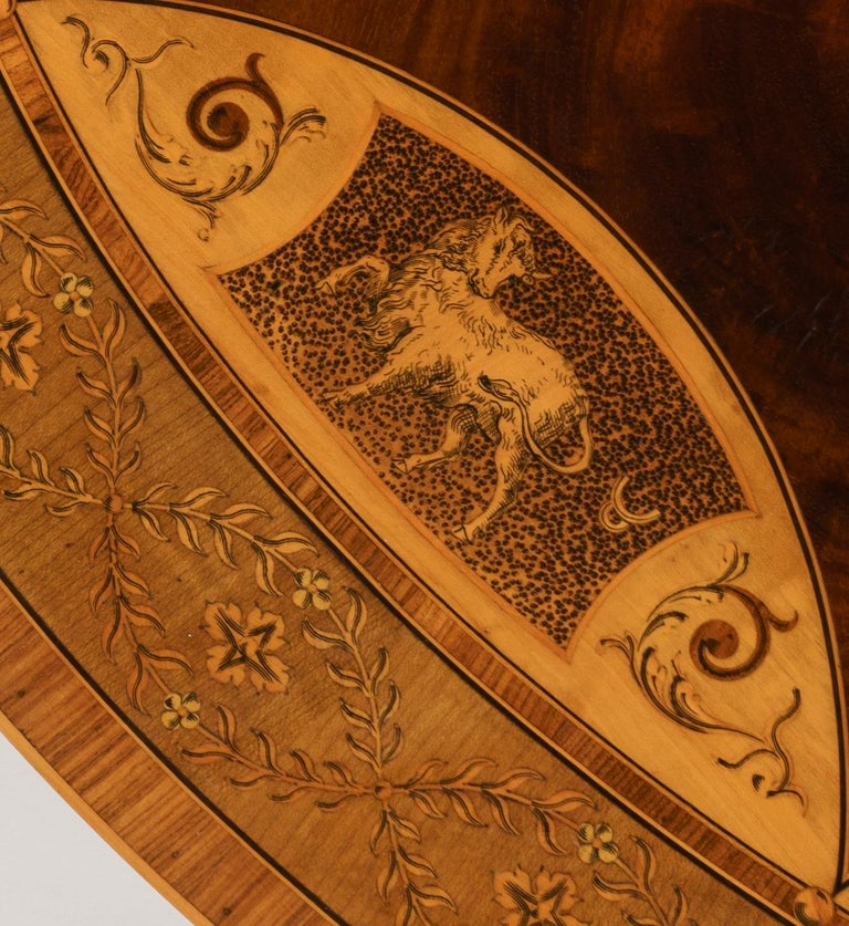 19th Century Mahogany and Satinwood Astrological Marquetry Centre Table For Sale 4