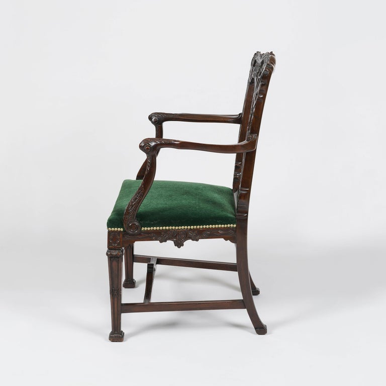 English 19th Century Mahogany Armchair in the style of Chippendale with Green upholstery For Sale