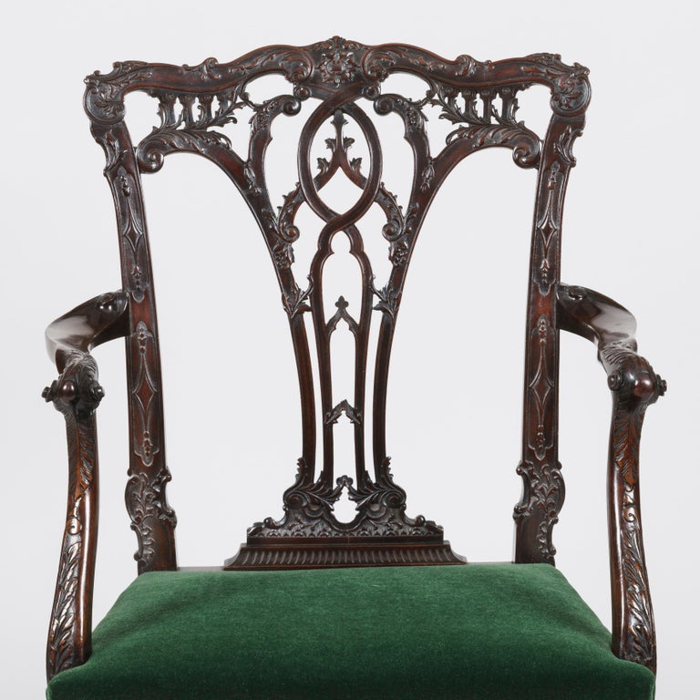 Hand-Carved 19th Century Mahogany Armchair in the style of Chippendale with Green upholstery For Sale