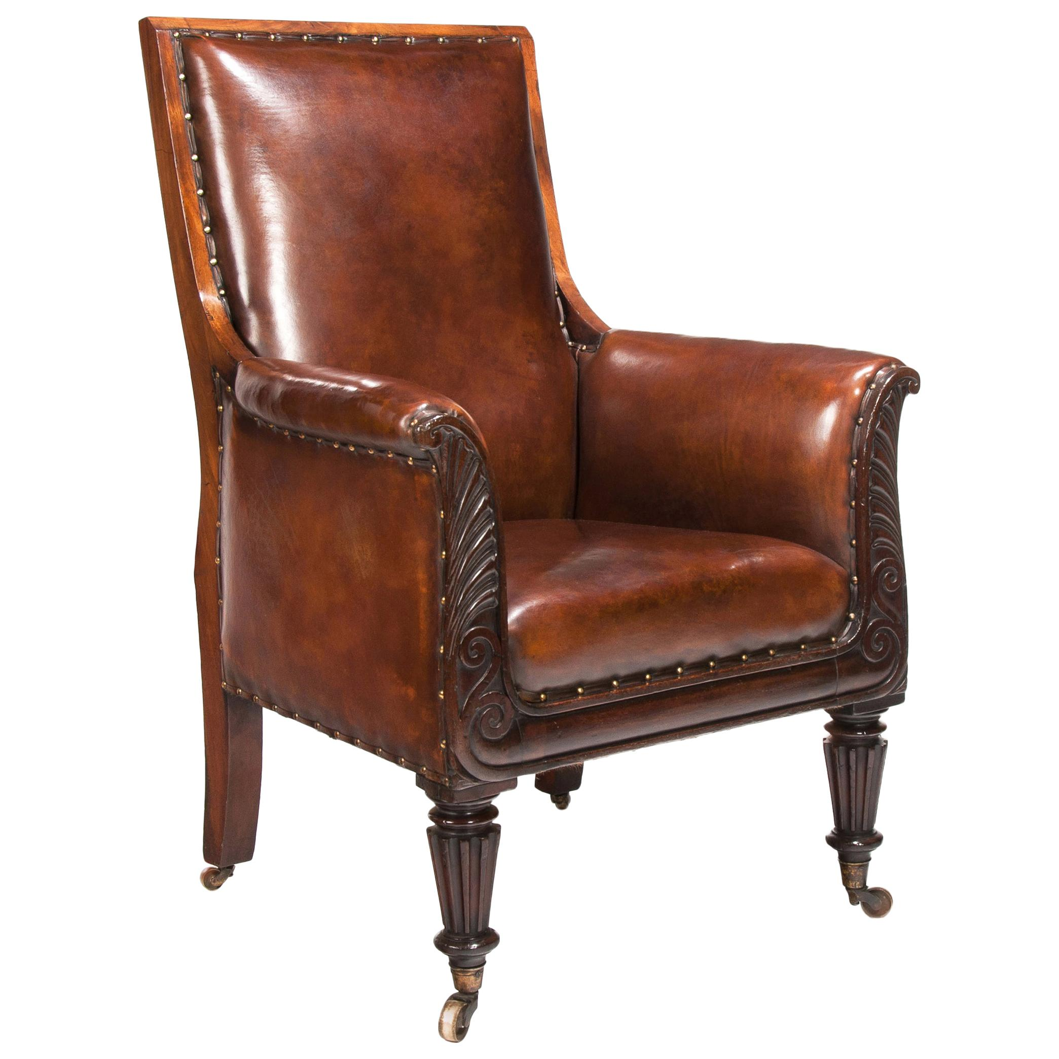 19th Century Mahogany Armchair of Neoclassical Design with Leather Upholstery