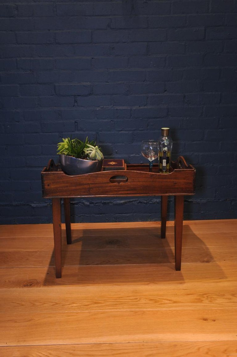 19th Century Mahogany Campaign Butlers Tray with Folding Lock-In Legs For Sale 2