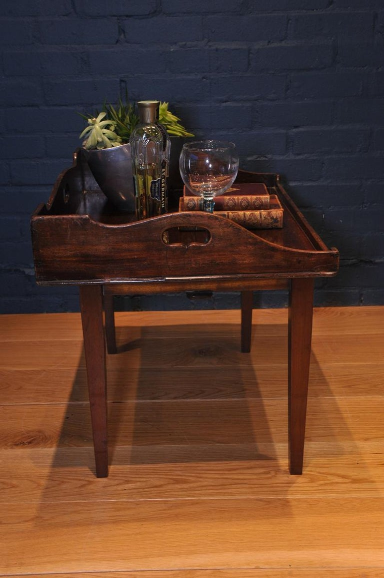 19th Century Mahogany Campaign Butlers Tray with Folding Lock-In Legs For Sale 3