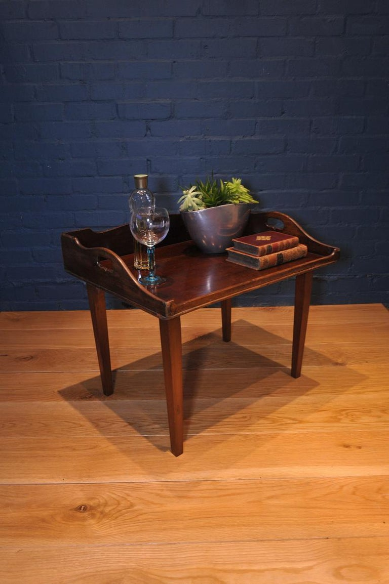 19th century mahogany Campaign butlers tray with folding lock-in legs  - Wonderful tray for drinks or collectibles in any modern or travel inspired setting - Handmade dovetail corner details.