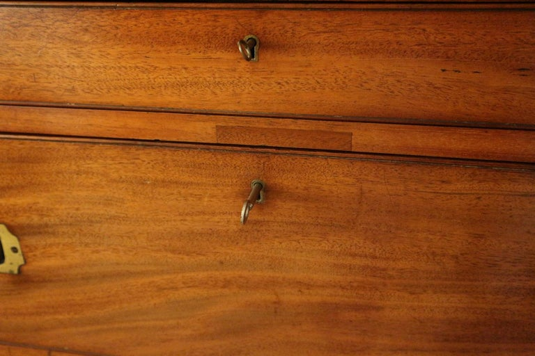 Early Victorian 19th Century Mahogany Campaign Secretaire Chest For Sale