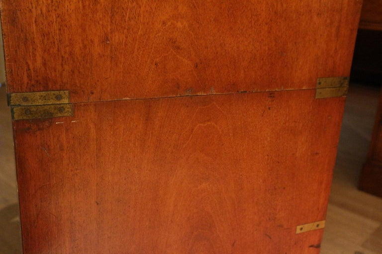 19th Century Mahogany Campaign Secretaire Chest In Good Condition For Sale In Eindhoven, NL