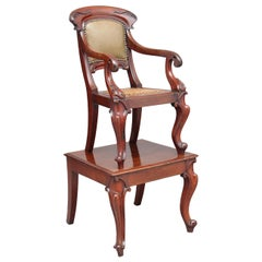 19th Century Mahogany Child's Chair on Stand