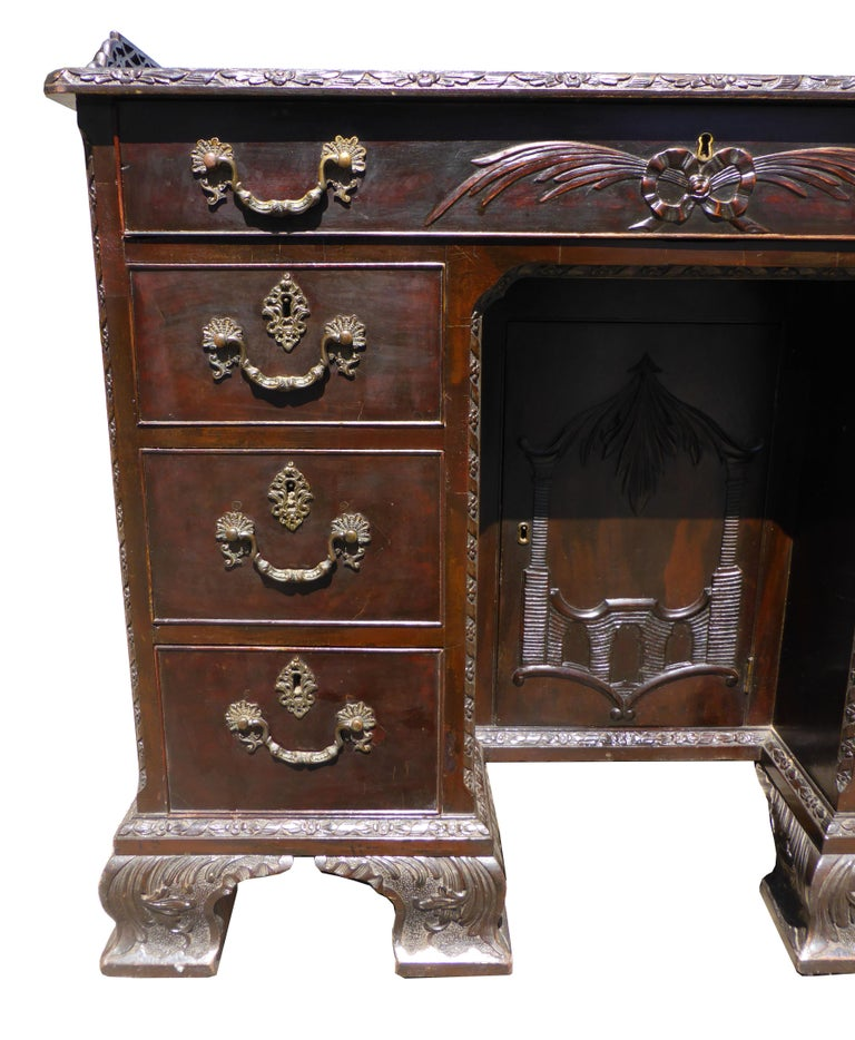 English 19th Century Mahogany Chinese Chippendale Desk For Sale