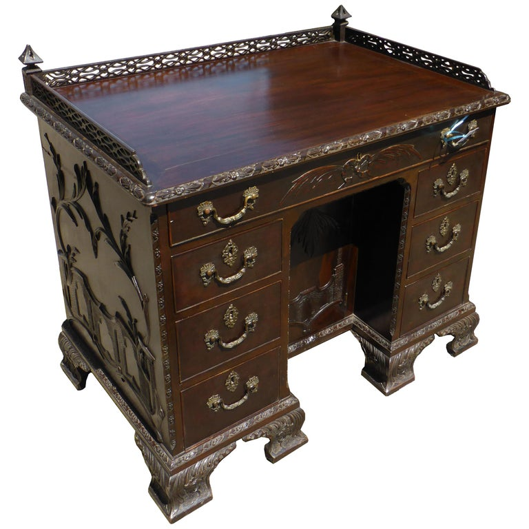 19th Century Mahogany Chinese Chippendale Desk For Sale