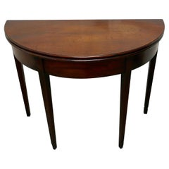 19th Century Mahogany Demilune Turn over Top Tea Table