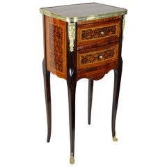 19th Century Mahogany Dresser/ Side Table Marquetry Napoleon III, France, 1870