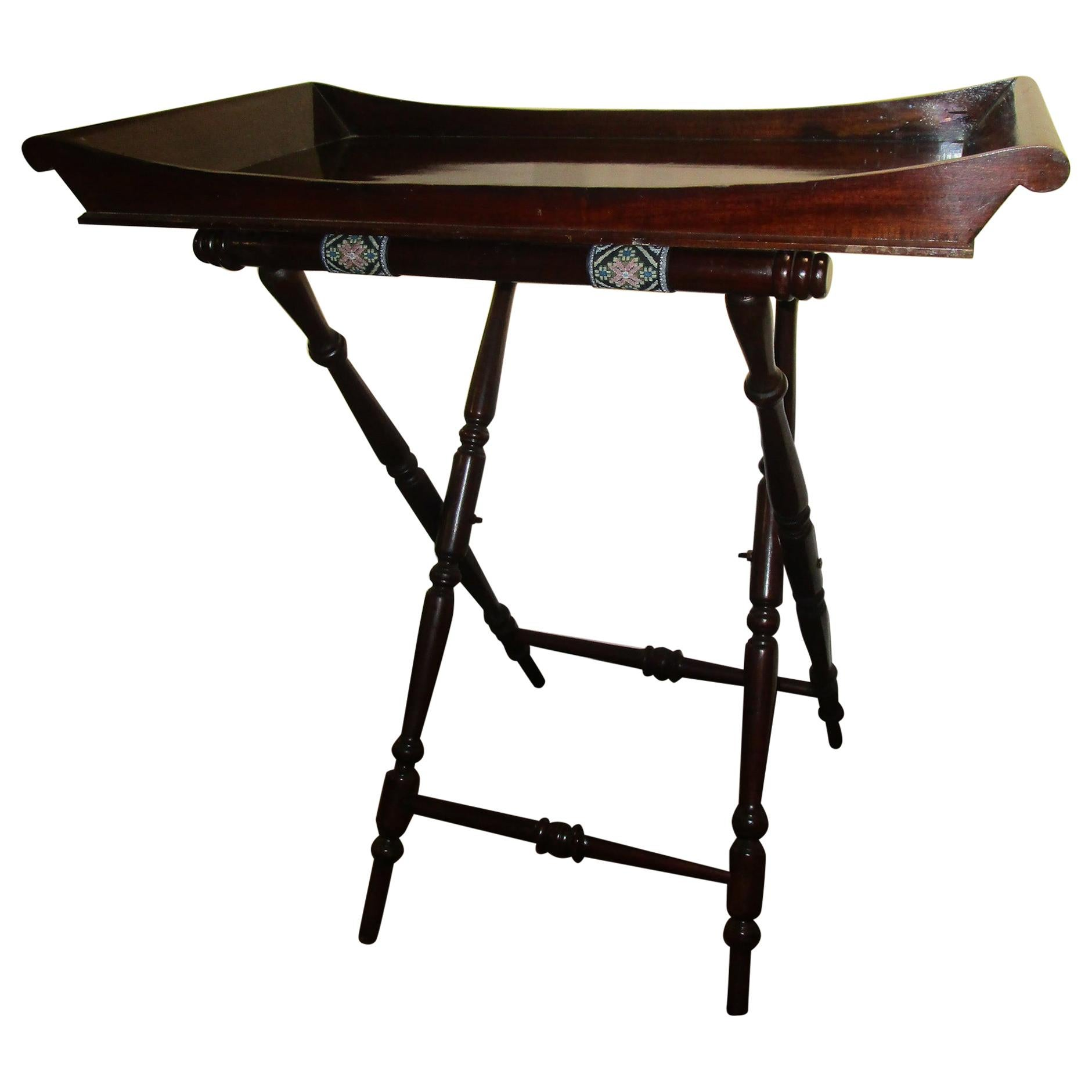 19th Century Mahogany English Butler's Tray on Turned Wooden Stand