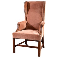 19th Century Mahogany Framed Wing Armchair with Peach Suede Upholstery