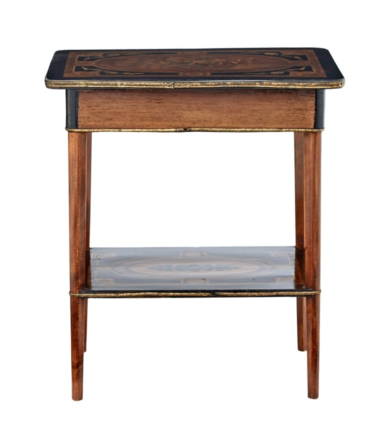 Late Victorian 19th Century Mahogany Inlaid Ladies Work Table For Sale