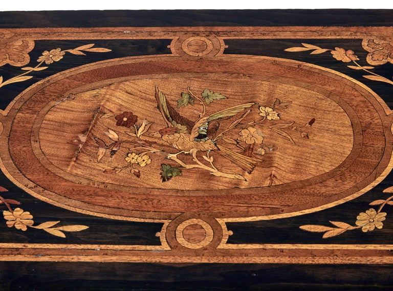 Inlay 19th Century Mahogany Inlaid Ladies Work Table For Sale