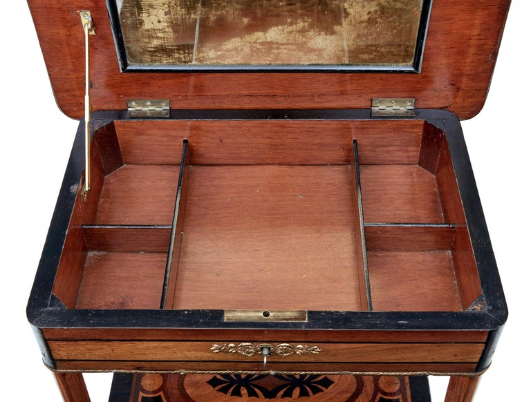 19th Century Mahogany Inlaid Ladies Work Table In Good Condition For Sale In Debenham, Suffolk